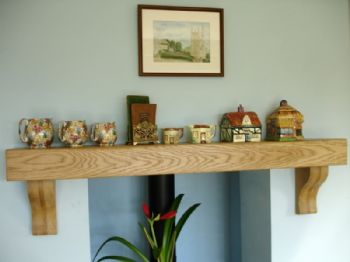 Oak Mantle Shelf With Corbels